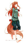 1girl ;) absurdres animal_ears ankleband anklet apple arms_behind_back ayakura_juu barefoot brown_hair capri_pants feet food fruit full_body highres holo jewelry long_hair one_eye_closed pants pouch red_eyes scan simple_background smile solo spice_and_wolf tail toes wolf_ears wolf_girl wolf_tail