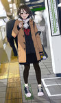 1boy 1girl badge bag bag_charm black_legwear blurry blush brown_eyes brown_hair button_badge cardigan commentary_request day duffel_coat dutch_angle enpera fringe hair_between_eyes hair_ornament hairclip hand_up highres long_hair looking_at_viewer morifumi open_mouth original outdoors pantyhose pleated_skirt scarf school_bag school_uniform serafuku shadow shoes shoulder_bag skirt smile smiley_face sneakers solo_focus standing teeth train_station_platform white_scarf