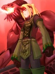 1boy beam black_gloves blonde_hair clenched_hands cloak cowboy_shot expressionless final_fantasy final_fantasy_xi fire flame gloves headband hume ifrit ifrit_(final_fantasy) long_sleeves monster short_hair size_difference standing summoner_(final_fantasy) tori_(torinchi)