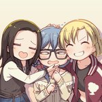 3girls =_= ^_^ ayasaka bang_dream! bangs beige_background black-framed_eyewear black_hair black_shirt black_vest blonde_hair blue_hair bracelet closed_eyes commentary_request crop_top facing_viewer flying_sweatdrops girl_sandwich glasses grin group_picture hair_over_shoulder hand_on_another's_chin hand_on_another's_head heart-shaped_mouth jacket jewelry layer_(bang_dream!) letterman_jacket lock_(bang_dream!) long_hair long_sleeves low-tied_long_hair masking_(bang_dream!) multiple_girls no_bangs parted_hair print_scrunchie red_jacket sandwiched scrunchie shirt short_hair smile star star_print track_jacket upper_body v-shaped_eyebrows vest white_shirt