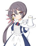 1girl :o akebono_(kantai_collection) alternate_costume apron bangs bell blue_dress blush bow brown_hair collared_dress commentary_request cup dress enmaided eyebrows_visible_through_hair flower grey_eyes hair_bell hair_between_eyes hair_flower hair_ornament hand_on_hip head_tilt holding holding_tray ichi jingle_bell kantai_collection long_hair long_sleeves maid maid_apron necktie parted_lips pink_flower red_neckwear side_ponytail solo teacup teapot tray very_long_hair white_apron white_bow