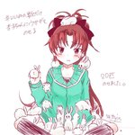 1girl artist_name black_ribbon blush bunny commentary_request green_hoodie hair_ribbon hood hoodie indian_style light_frown mahou_shoujo_madoka_magica ponytail red_eyes red_hair ribbon sakura_kyouko sattyin sitting solo sweatdrop translation_request white_background