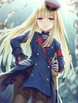 1girl >:) artist_name bangs blonde_hair blue_coat blurry blurry_background blush brown_legwear closed_mouth commentary_request depth_of_field eyebrows_visible_through_hair fate/grand_order fate_(series) gloves green_eyes hagino_kouta hand_on_hip hat highres holding holding_sword holding_weapon long_hair long_sleeves lord_el-melloi_ii_case_files pantyhose peaked_cap reines_el-melloi_archisorte saber_(weapon) signature smile solo sword tilted_headwear v-shaped_eyebrows very_long_hair weapon white_gloves white_headwear