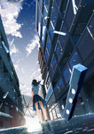 1girl arm_at_side bad_id bad_pixiv_id bare_arms bare_legs black_footwear black_hair blue_skirt blurry building cloud cloudy_sky depth_of_field dropping dutch_angle floating_hair from_behind from_below grey_sky ground holding holding_umbrella kurono_kuro legs_apart original outdoors pleated_skirt school_uniform see-through serafuku shoes short_sleeves skirt sky snowing solo standing transparent_umbrella umbrella upskirt water water_drop