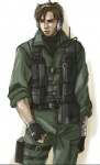 1boy bandages belt_pouch blood brown_eyes brown_hair facial_hair fingerless_gloves gloves hal_akane headset injury iroquois_pliskin male_focus metal_gear_(series) metal_gear_solid pouch solid_snake solo stubble