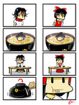 3girls 4koma :d bad_end black_hair blood bowl bowl_hat chopsticks comic directional_arrow dress eating food gapangman hair_ribbon hakurei_reimu hat highres horns in_bowl in_container in_food kijin_seija kneeling minigirl mouse multiple_girls open_mouth purple_hair recurring_image red_eyes ribbon rice smile soup sukuna_shinmyoumaru table touhou vore |_|