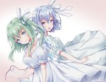 2girls alternate_costume back-to-back blue_dress blue_eyes blue_hair blush bow breasts cirno cleavage daiyousei dress dutch_angle fairy_wings green_eyes green_hair hair_bow happy head_tilt ice ice_wings looking_at_viewer looking_to_the_side multiple_girls open_mouth shiromoru_(yozakura_rety) side_ponytail signature simple_background smile touhou twitter_username white_dress wings