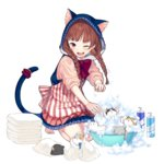 1girl animal_ears barefoot bath blush braid brown_hair bubble_bath cat cat_ears cat_tail container hood long_hair official_art open_mouth red_eyes skirt sleeves_past_elbows solo splashing squatting tail tail_ring towel transparent_background twin_braids uchi_no_hime-sama_ga_ichiban_kawaii wednesday_(uchi_no_hime-sama) wince