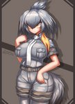 1girl arm_at_side artist_name bangs bare_arms belt bird_tail black_hair breast_pocket breasts closed_mouth collared_shirt commentary dated expressionless eyebrows_visible_through_hair grey_legwear grey_shirt grey_shorts hair_between_eyes hand_up highres huge_breasts impossible_clothes impossible_shirt kemono_friends long_hair looking_afar low_ponytail multicolored_hair necktie no_gloves orange_eyes orange_hair pantyhose pantyhose_under_shorts pocket shiny shiny_hair shirt shoebill_(kemono_friends) short_sleeves shorts side_ponytail silver_hair solo standing tail tsurime upper_body white_neckwear zinfyu