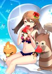 1girl :d >_< ^_^ ^o^ absurdres bare_arms bare_legs bare_shoulders bikini blue_eyes blush breasts brown_hair cleavage closed_eyes eating eyebrows_visible_through_hair floral_print flower food frilled_bikini frills furret hair_flower hair_ornament haruka_(pokemon) heart hibiscus highres holding holding_food long_hair medium_breasts navel open_mouth pokemon pokemon_(creature) pokemon_(game) pokemon_rse ribbon side-tie_bikini sitting smile soaking_feet stomach swimsuit teeth thighs torchic upper_teeth water water_drop watermark yellow_ribbon yuihiko
