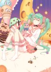 1girl bangs bed_sheet black_choker bow bowtie cake candy cheesecake chocolate choker closed_eyes cookie doughnut eyebrows_visible_through_hair eyelashes food frilled_legwear frilled_shirt frilled_sleeves frills fruit green_hair hair_ornament hair_scrunchie hatsune_miku holding_stuffed_animal ice_cream ice_cream_cone kneehighs konpeitou long_hair long_sleeves lots_of_laugh_(vocaloid) on_bed orange orange_slice pink_skirt pocky scrunchie shirt sitting sitting_on_bed skirt smile_(mm-l) solo star stuffed_animal stuffed_bunny stuffed_toy twintails very_long_hair vocaloid white_legwear