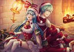 1boy 1girl :d arm_support ascot back-to-back blue_eyes blue_hair boots bow box brother_and_sister brown_gloves corset eirika ephraim fire fire_emblem fire_emblem:_seima_no_kouseki floating_hair fur-trimmed_gloves fur-trimmed_hat fur-trimmed_sleeves fur_trim gift gift_box gloves green_bow green_hair hair_between_eyes hat holding holding_staff kai-yan long_hair long_sleeves looking_at_viewer miniskirt open_mouth pants pleated_skirt red_bow red_footwear red_gloves red_hat red_neckwear red_pants red_shirt santa_boots santa_costume santa_gloves santa_hat shirt short_sleeves shoulder_armor siblings skirt smile staff striped striped_bow thighhighs very_long_hair white_legwear white_shirt white_skirt zettai_ryouiki