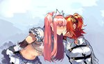 2girls blue_background blush chaldea_uniform commentary_request crop_top crown elbow_gloves eyebrows_visible_through_hair fate/grand_order fate_(series) from_side fujimaru_ritsuka_(female) gloves grey_jacket hair_ornament hair_scrunchie highres idk-kun jacket kiss leaning_forward long_hair medb_(fate/grand_order) multiple_girls navel one_side_up orange_hair parted_lips pink_hair profile scrunchie short_hair short_sleeves smile wing_collar yuri