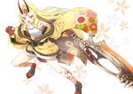 1girl blonde_hair bone commentary_request fate/grand_order fate_(series) gudon_(iukhzl) holding ibaraki_douji_(fate/grand_order) japanese_clothes long_hair looking_at_viewer oni_horns solo sword tattoo weapon yellow_eyes