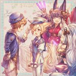 2boys 2girls :d alternate_costume animal_ears bare_shoulders bell belt black_hair blonde_hair blush bow brown_hair closed_eyes commentary commentary_request detached_sleeves erune fang fingerless_gloves fox_ears fox_tail fur_trim gloves glowstick gran_(granblue_fantasy) granblue_fantasy hair_bell hair_ornament hair_over_one_eye hat heart japanese_clothes jingle_bell kimi_to_boku_no_mirai kimono kou_(granblue_fantasy) long_hair microphone multiple_boys multiple_girls neckerchief necktie open_mouth peaked_cap pink_bow red_eyes shigaraki_(strobe_blue) silver_hair smile societte_(granblue_fantasy) sweatdrop tail v_arms very_long_hair white_gloves white_hair yuel_(granblue_fantasy)