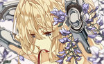 1girl blonde_hair blue_eyes cheese_kang commentary hair_ribbon long_hair mechanical_hands ribbon solo violet_(flower) violet_evergarden violet_evergarden_(character)