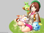 1girl ^_^ absurdres backpack bag bangs blush bob_cut boots brown_bag brown_eyes brown_footwear brown_hair cardigan closed_eyes commentary dress eyebrows_visible_through_hair female_protagonist_(pokemon_swsh) full_body gen_8_pokemon green_headwear green_legwear grey_cardigan grookey hand_on_another's_head hand_on_head happy hat highres holding long_sleeves looking_at_viewer open_mouth petting pink_dress pokemon pokemon_(creature) pokemon_(game) pokemon_on_arm pokemon_on_lap pokemon_swsh scorbunny short_hair simple_background sitting smile sobble socks tam_o'_shanter upper_teeth zen_cross
