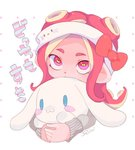 1girl cephalopod_eyes character_doll cinnamoroll cropped_torso headband hello_kitty hello_kitty_(character) holding looking_at_viewer octoling pink_eyes pink_hair sanrio sasimi short_hair signature simple_background splatoon splatoon_2 sweater white_background