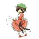 1girl animal_ears bad_id bad_pixiv_id bow bowtie brown_eyes brown_hair cat cat_ears cat_tail chen dress dress_lift gomimushi hat looking_back lowres multiple_tails solo tail touhou