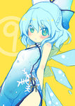 (9) 1girl alternate_costume bare_arms bare_shoulders blue_dress blue_eyes blue_hair blush braid china_dress chinese_clothes cirno colored dress dutch_angle flat_color hair_ribbon ice ice_wings looking_at_viewer minamura_haruki parted_lips ribbon short_hair simple_background sketch snowflake_print solo touhou wings yellow_background