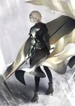 1girl armor armored_boots armored_dress blonde_hair boots braid commentary_request fate/grand_order fate_(series) faulds flag from_behind gauntlets headpiece high_heel_boots high_heels highres holding holding_flag jeanne_d'arc_(fate) jeanne_d'arc_(fate)_(all) looking_to_the_side marumoru single_braid standard_bearer