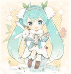 1girl :d ahoge animal bangs blue_hairband blush brown_footwear bunny capelet chibi commentary_request dress eyebrows_visible_through_hair flower fur-trimmed_boots fur-trimmed_capelet fur_trim green_eyes green_hair green_ribbon hair_flower hair_ornament hairband hatsune_miku holding holding_flower lf long_hair neck_ribbon open_mouth polka_dot polka_dot_background ribbon smile snow twintails very_long_hair vocaloid white_capelet white_dress white_flower yuki_miku yukine_(vocaloid)