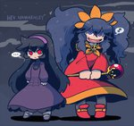 ... 2girls ashley_(warioware) ashley_(warioware)_(cosplay) black_hair character_name commentary cosplay costume_switch dress hairband hex_maniac_(pokemon) hex_maniac_(pokemon)_(cosplay) multiple_girls pantyhose pokemon pokemon_(game) pokemon_xy purple_eyes purple_hair rariatto_(ganguri) red_eyes smile staff thought_bubble twintails warioware