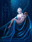 2girls anna_(frozen) braid breasts carrying closed_eyes elsa_(frozen) fine_art_parody frozen_(disney) kimbbq long_hair multiple_girls nude parody pieta princess princess_carry queen siblings single_braid sisters snowflakes stairs