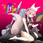 1girl animal_ears bare_shoulders barefoot black_gloves breasts china_dress chinese_clothes commentary commentary_request dress fan fang fate/grand_order fate_(series) fox_ears fox_tail gloves gradient gradient_background highres koyanskaya large_breasts long_hair looking_at_viewer pink_hair sitting smile solo tail tamago_honrou tamamo_(fate)_(all) underboob yellow_eyes