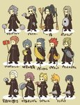 2girls 6+boys >_< antenna_hair axel_(kingdom_hearts) banana black_coat black_hair blonde_hair blue_hair broom brown_hair cd check_translation chibi closed_eyes demyx dragonfly dual_wielding everyone eyepatch facial_hair facial_mark fan food fruit gloves grey_hair hair_dryer hair_over_one_eye hairlocs kingdom_hearts kingdom_hearts_358/2_days ladle larxene lexaeus lid long_hair luxord marluxia multiple_boys multiple_girls o_o organization_xiii paper_fan pigeon-toed pink_hair pizza ponytail racket red_hair roxas saix sandwich saucepan_lid scar simple_background spiked_hair squeaky_mallet standing t_t tennis_racket translation_request uchiwa umbrella vexen weapon xaldin xemnas xigbar xion_(kingdom_hearts) zexion |_|