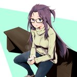 1girl bench black-framed_eyewear blue_eyes blue_pants blush breasts brown_footwear coffee coffee_mug commentary cup denim glasses green_sweater highres holding holding_cup holding_mug jeans kagamihara_sakura lips long_hair looking_at_viewer medium_breasts mug one_side_up pants parted_lips pink_lips purple_hair ribbed_sweater shoes sitting sneakers solo steam sweater turtleneck turtleneck_sweater very_long_hair watermelon_pan yurucamp