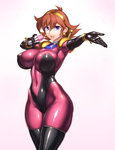 1girl :d armor armpits bangs blue_eyes blush bodysuit bracer breasts brown_hair covered_navel covered_nipples cowboy_shot dutch_angle earrings flipped_hair from_side g_gundam gloves grey_background gundam gundam_build_fighters hair_between_eyes hairband happy holding impossible_bodysuit impossible_clothes jewelry large_breasts looking_at_viewer microphone mobile_trace_suit navel neck_ring open_mouth outstretched_arm pauldrons rain_mikamura rindou_(radical_dream) shiny shiny_clothes short_hair simple_background singing skin_tight smile solo thighs wide_hips