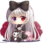 1girl bangs black_bow black_dress black_footwear blush bow brown_legwear chibi closed_mouth commentary_request dress eyebrows_visible_through_hair flower frills gothic_lolita hair_bow heterochromia lolita_fashion long_hair long_sleeves looking_at_viewer original pantyhose puffy_short_sleeves puffy_sleeves purple_eyes red_eyes red_flower red_rose rose shoe_soles shoes short_over_long_sleeves short_sleeves silver_hair sitting solo sparkle stuffed_animal stuffed_bunny stuffed_panda stuffed_toy very_long_hair white_background wide_sleeves yukiyuki_441