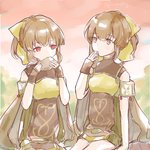 2girls airisuotog bow breastplate brown_eyes brown_hair cape commentary_request dress dual_persona dyute_(fire_emblem) eating fire_emblem fire_emblem_echoes:_mou_hitori_no_eiyuuou fire_emblem_heroes hair_bow highres long_hair multiple_girls ponytail red_eyes short_dress sitting twitter_username