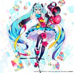 1girl :d ahoge aqua_hair balloon bow commentary_request cube detached_sleeves full_body green_eyes hair_between_eyes hair_ornament hatsune_miku long_hair looking_at_viewer magical_mirai_(vocaloid) megaphone microphone_stand mika_pikazo official_art open_mouth platform_footwear smile solo thighhighs twintails upskirt very_long_hair vocaloid white_background