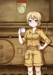 1girl absurdres alternate_costume artist_name bangs bare_legs belt blonde_hair blue_eyes braid brown_belt closed_mouth cup darjeeling desert_pattern emblem eyebrows flower girls_und_panzer ground_vehicle hand_on_hip highres holding holding_cup jacy looking_at_viewer machinery military military_uniform military_vehicle motor_vehicle short_hair shorts sleeves_folded_up sleeves_rolled_up smile solo st._gloriana's_(emblem) st._gloriana's_school_uniform standing tank teacup teapot tied_hair twin_braids uniform