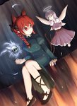 2girls animal_ears braid cat_ears cat_tail dress fairy halo kaenbyou_rin long_hair multiple_girls multiple_tails nikori red_eyes red_hair sitting sleeves_past_wrists smile spirit tail touhou twin_braids wings zombie_fairy