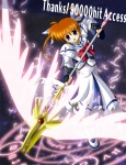 1girl :d ahoge bow bowtie brooch brown_hair energy_wings engrish feathers fingerless_gloves gloves hits holding holding_weapon jewelry long_sleeves looking_at_viewer lyrical_nanoha magazine_(weapon) magic_circle magical_girl mahou_shoujo_lyrical_nanoha mahou_shoujo_lyrical_nanoha_a's open_mouth polearm purple_eyes raising_heart ranguage red_bow robe short_hair short_twintails smile solo spear takamachi_nanoha takase_shin'ya twintails weapon wings