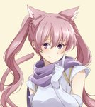 1girl animal_ears cat_ears cat_tail closed_mouth elbow_gloves fire_emblem fire_emblem:_rekka_no_ken gloves highres long_hair mememefe pink_hair purple_eyes serra simple_background smile solo tail twintails upper_body white_gloves