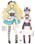 2girls alice_(wonderland) alice_(wonderland)_(cosplay) alice_in_wonderland animal_ears anne_bonny_(fate/grand_order) blonde_hair blue_eyes blush breasts bunny_ears chocoan cleavage cosplay fate/grand_order fate_(series) gloves hat large_breasts long_hair looking_at_viewer mary_read_(fate/grand_order) midriff multiple_girls one_eye_closed red_eyes scar short_hair silver_hair smile top_hat twintails very_long_hair white_rabbit white_rabbit_(cosplay)