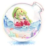 1girl bottle chiki closed_eyes commentary_request dragon_wings fire_emblem fire_emblem:_monshou_no_nazo fire_emblem_heroes fish food glass_bottle green_hair hair_ribbon highres holding in_bottle in_container long_hair mamkute nakabayashi_zun pink_swimsuit pointy_ears ponytail popsicle red_ribbon ribbon solo swimsuit tiara water wings