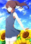 1girl :d aa_(sin2324) bangs bare_arms bare_shoulders blue_shirt blue_sky brown_hair closed_eyes cloud cloudy_sky commentary_request day eyebrows_visible_through_hair fingernails flower hakama-chan_(aa) high_ponytail highres long_hair open_mouth original outdoors outstretched_arm ponytail profile shirt short_shorts shorts sky sleeveless sleeveless_shirt smile solo sunflower upper_teeth white_shorts yellow_flower