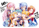 2017 2boys 4girls anniversary aqua_hair artist_name black_sailor_collar black_shirt blonde_hair blue_hair blue_scarf blush bow brother_and_sister brown_hair closed_eyes colored_pencil_(medium) commentary_request crop_top dated eyebrows_visible_through_hair eyes_visible_through_hair green_eyes group_hug hair_between_eyes hair_bow hair_ornament hairclip hand_on_another's_head hatsune_miku headphones headset hug kagamine_len kagamine_rin kaito long_hair medium_hair megurine_luka meiko microphone mojacookie multiple_boys multiple_girls necktie one_eye_closed open_mouth pink_hair red_shirt sailor_collar scarf shirt short_hair short_sleeves siblings sleeveless smile traditional_media translation_request twins twintails upper_body vocaloid white_bow white_shirt