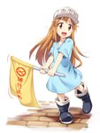 1girl :d asutora blue_shirt boots brown_eyes brown_hair commentary_request eyebrows_visible_through_hair flag flat_cap full_body hat hataraku_saibou highres holding long_hair looking_at_viewer open_mouth platelet_(hataraku_saibou) shirt simple_background smile solo sweat very_long_hair white_background white_hat