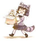 2girls animal_ears black_hair blonde_hair blush bow bowtie box carrying closed_eyes commentary_request common_raccoon_(kemono_friends) elbow_gloves eyebrows_visible_through_hair fang flying_sweatdrops fur_collar gloves grey_hair in_box in_container kemono_friends multicolored_hair multiple_girls nukoosama open_mouth pantyhose pleated_skirt puffy_short_sleeves puffy_sleeves raccoon_ears raccoon_tail serval_(kemono_friends) serval_ears serval_print serval_tail short_sleeves skirt small sweatdrop tail translated white_hair