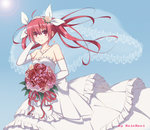 1girl artist_name blue_background bouquet breasts bridal_veil cleavage date_a_live diadem dress earrings elbow_gloves eyebrows_visible_through_hair floating_hair flower gloves hair_between_eyes hair_flower hair_ornament hair_ribbon hand_in_hair holding holding_bouquet itsuka_kotori jewelry layered_dress long_hair looking_at_viewer necklace qingchen_(694757286) red_eyes red_flower red_hair red_ribbon ribbon sideboob simple_background sleeveless sleeveless_dress small_breasts smile solo strapless strapless_dress twintails veil wedding_dress white_dress white_gloves white_ribbon yellow_flower