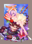 1girl :o arms_up bare_legs barefoot black-framed_eyewear breasts breasts_apart cherry chocolate chocolate_heart cleavage crossed_legs fate/grand_order fate_(series) flower food fruit glasses hair_over_one_eye heart highres ice_cream legs nude oversized_object parfait purple_eyes purple_hair sanmon semi-rimless_glasses shielder_(fate/grand_order) short_hair solo spoon strawberry