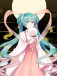 1girl aqua_eyes aqua_hair bangs blush chinese_clothes chuushuu_meigetsu_miku closed_mouth commentary_request eyebrows_visible_through_hair fan flower full_body hagoromo hair_between_eyes hair_flower hair_ornament hanfu hatsune_miku high-waist_skirt holding holding_fan long_hair long_sleeves looking_at_viewer paper_fan pink_skirt shawl skirt sleeves_past_wrists smile solo tiny_(tini3030) twintails uchiwa very_long_hair vocaloid white_flower wide_sleeves