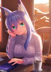 1girl animal_ear_fluff animal_ears bangs blue_hair book book_stack breast_press breasts chair chin_rest coffee coffee_cup cup disposable_cup evening eyebrows_visible_through_hair fox_ears fox_girl fuyubare_kiyo green_eyes hair_between_eyes head_tilt highres indoors kyu_(wein-seria) large_breasts long_hair long_sleeves looking_at_viewer original ribbed_sweater signature smile solo sweater table turtleneck turtleneck_sweater white_sweater window