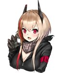 1girl armband bandana bangs black_jacket blush boxreeema breasts cleavage commentary_request fang girls_frontline hair_between_eyes headgear highres jacket long_hair looking_at_viewer m4_sopmod_ii_(girls_frontline) mechanical_arm medium_breasts multicolored_hair open_mouth pink_hair red_eyes red_hair solo streaked_hair upper_body white_background zipper
